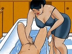 Mature mom handjob dick her boy! Animation!