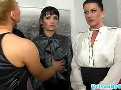 European femdom platinum-blonde soaking five brunettes