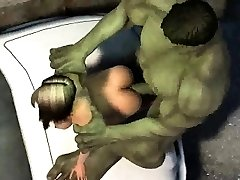 3D cartoon dekle gets zajebal na prostem z Hulk