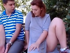 Redhead and neighbor outdoor(honeypot licking)