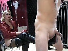 Blond mistress Boots torture
