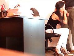 Secretary caught sucking her boss