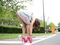 Teen skipping rope in high heels UPSKIRT views