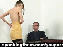 Angry boss spanks secretary