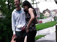Risky public sex pregnant two girl threesome.
