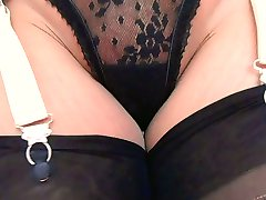 Retro Garter Belt Black Stockings