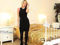 Black pants and high heels teasing