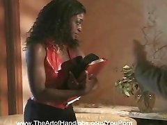 Ebony Secretary Got a Handjob Choice