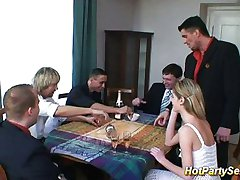 Whore in drinking gangbang