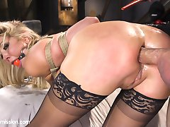 When big tit blonde Lexi Lowe is taken hostage by Bill Bailey, she finds herself submitting her anal treasures to the big dick thief. Lexi's fine ass takes a brutal pounding and her big beautiful tits tantalize and bounce with every thrust as Bill takes full advantage of his helpless anal hostage.