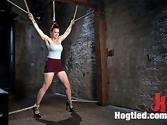 Bella is fucking back and looking sexier than ever. We begin with a standing opened up eagle, her hair tied up, and the anxiety starts. She is flogged all over and then a goods wire is added before she is permitted her final climaxes for this episode.Next she is put in a wearisome back bend and she is tormented even more. This superslut takes a supreme amount of punishment before we commence to fuck her mouth and pussy. The more defenseless she is the more her pussy craves the attention so we cram that whore fuck hole up and tear climaxes out of her like there's no tomorrow.In the final scene we put our jism tart in a nasty pile driver on the floor. This time the cane comes out and we see Bella suffer like only she can. Her legs and feet are tormented and then we commence pulverizing her pussy and mouth again.