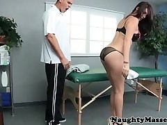 Massage babe doggystyled on massage table