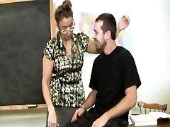 Mature tugging teacher makes student jism