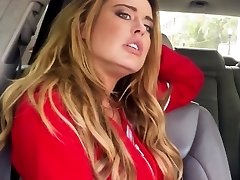 Stranded busty blonde drilled closeup in car