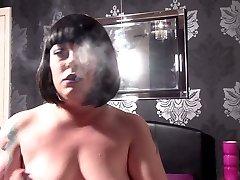 Tina Rubbing Her Tummy & Clit & Smoking - BBW Fetish Obese