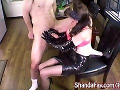 Milf Shanda Fay Jerks Off Stiff Pipe with Latex Gloves!