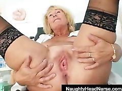 Blondie milf Greta massive natural boobs and uniform