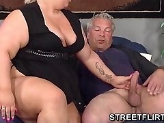 Real big corpulent BBW gives some sloppy blowjob