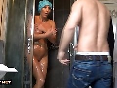 Real stepson rescuses step-mom from the bathroom