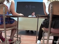 Two naughty college girls play with their teacher