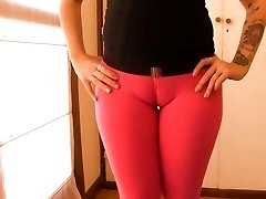 Huge Cameltoe Cootchie Teen Workign Out! Obese A