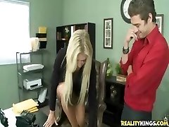 Busty blond is told what to do by her boss at work and does it