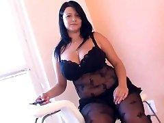 Fat lady in arousing black lingerie