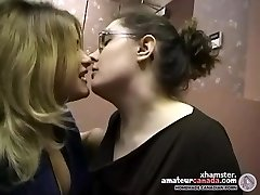 Two chubby amateur lesbians make out and smooching in office