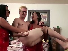 Two hot woman pulverize guy with strap on AMAZING