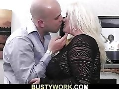 Golden-haired fatty sucks and rides man meat