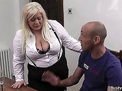 Blond secretary in stockings