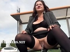 Chubby Andreas public nudity and naughty mum flashing outdoors with brit
