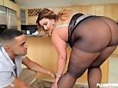 Sexy Big Butt BBW Playgirl Receives Fucked in Pantyhose in Kitchen