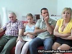 Aged couple seduces newlyweds