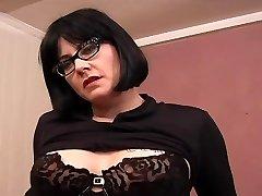 Tattooed Plump MILF Glasses - Dildo Play