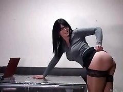 Hot assistant with glasses gets poked