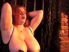 Kinky couple spanking horny tied wench