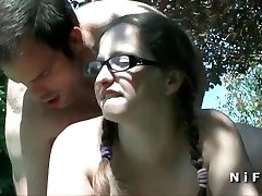 Plump french teen sodomized in doggy style outdoor