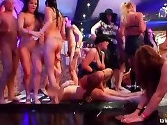 Nasty chicks partying naked in the club