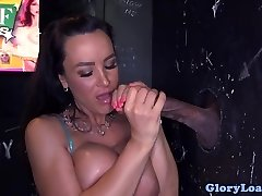 Bigtitted gloryhole cougar cocksucks wall weenie