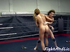 Pussylicked european grappling a dyke babe