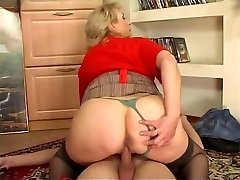 Russian busty maid screwed by youthful guy at home