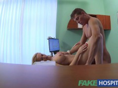 FakeHospital Sexy blonde MILF feeds then plows doctor on desk