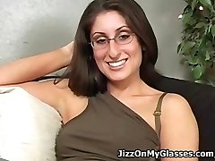 Sweet College Nymph Dasha Loves Cum All Over her Glasses