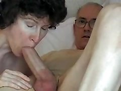 Grandfather's big weenie, attractive mature swallows it