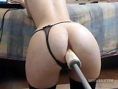Huge faux-cock lil' ass