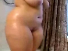 Fat PLUS-SIZE Ex Girlfriend taking a Hot shower, nice Bumpers