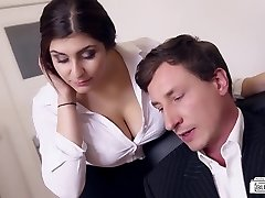 BOOTIES BUERO - Busty German secretary drills boss at the office