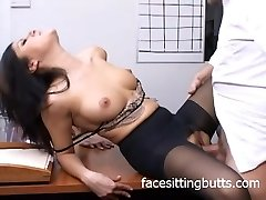 Insane office slut in stockings sucks like a pro!
