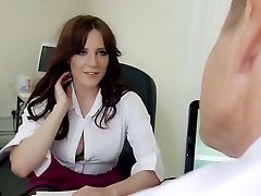 Mature hungry boss mouth fucks phat jugged brunette strumpet in his office hard
